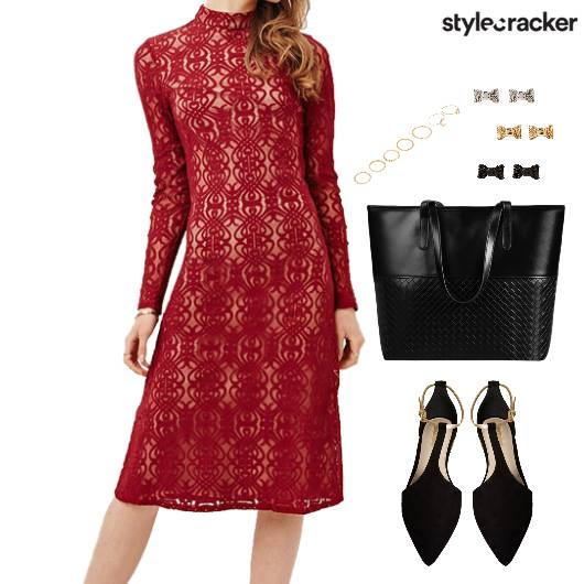 Lace Dress Flats Tote RingSet Dinner - StyleCracker