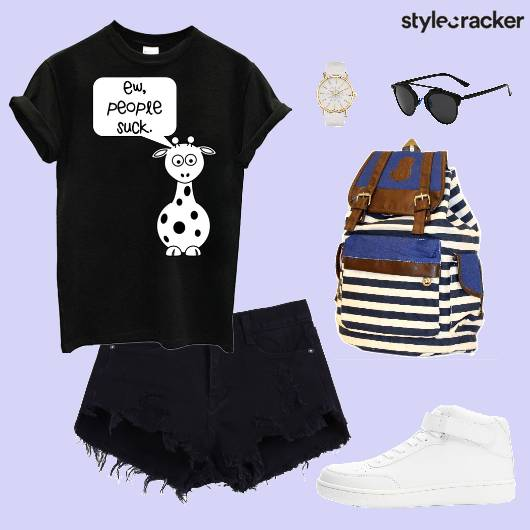 TShirt RippedShorts Sneakers BackPack - StyleCracker