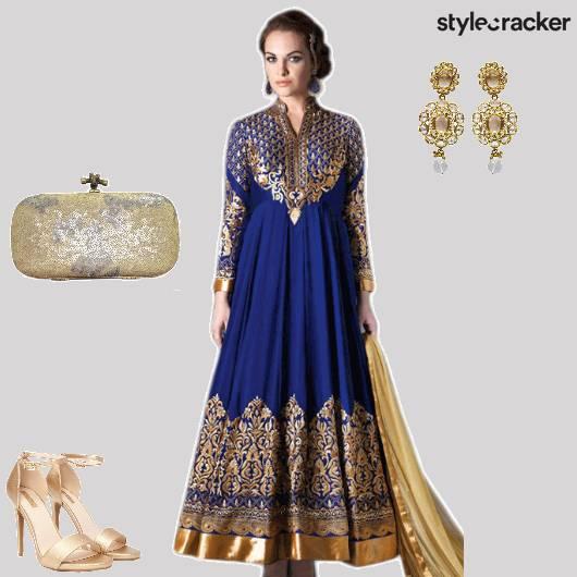Anarkali Gold Festive - StyleCracker