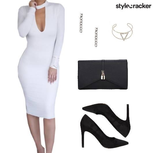 Monochrome Bodycon Cocktail Dress  - StyleCracker