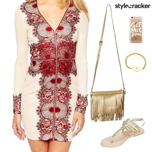 Embroidered Dress Fringe SlingBag Flats Lunch - StyleCracker