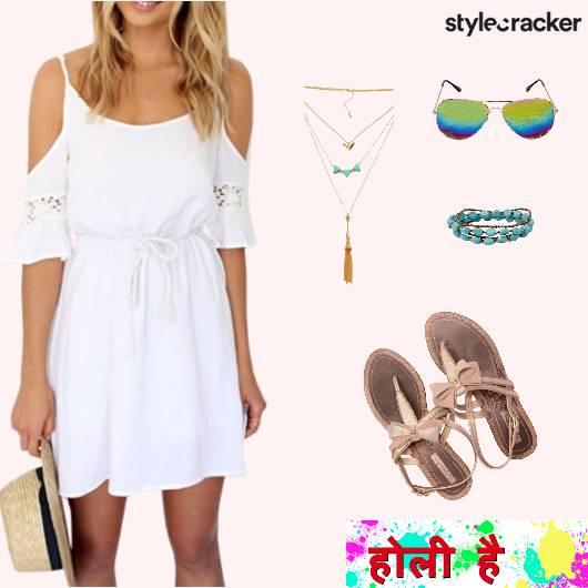 Holi ColdShoulder Dress Casual - StyleCracker