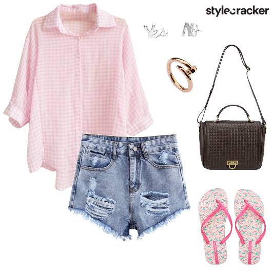 Checks Shirt Ripped Shorts Casual  - StyleCracker