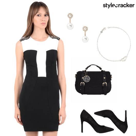 Bodycon Dress Pumps Satchel Studs Dinner - StyleCracker