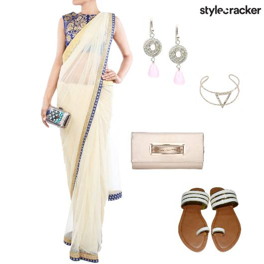 Saree Flats Clutch Earrings Ethnic Indian - StyleCracker
