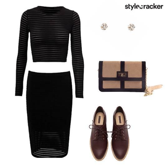 Set Croptop Skirt Oxfords Slingbag Party - StyleCracker