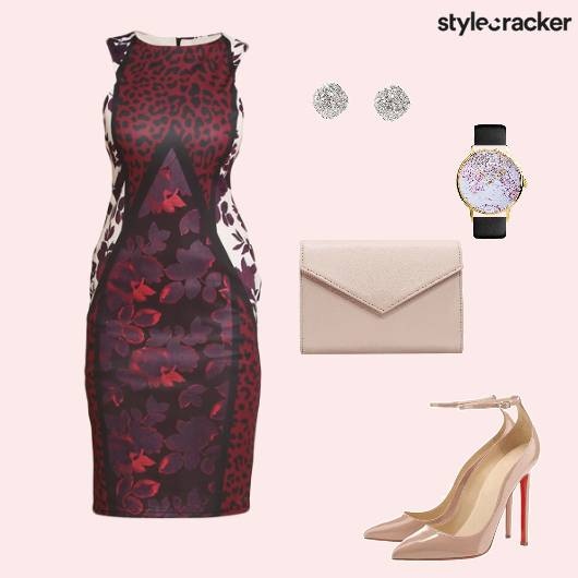 Bodycon Dress Pumps EnvelopeClutch Watch Studs Dinner - StyleCracker