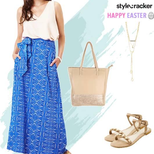 Maxi Skirt LayeredNecklace Easter Dayout - StyleCracker