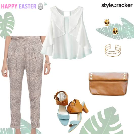 Printed Pants Top ColourBlock Heels Easter - StyleCracker