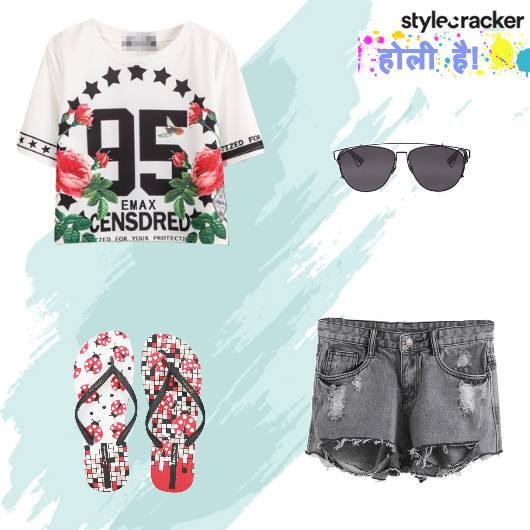 Casual GraphicTee Shorts FlipFlops Holi - StyleCracker