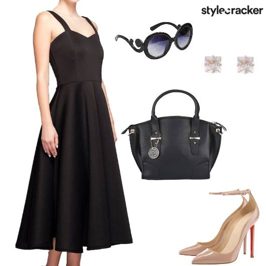 Midi Dress Hangbag  Pumps Dinner - StyleCracker