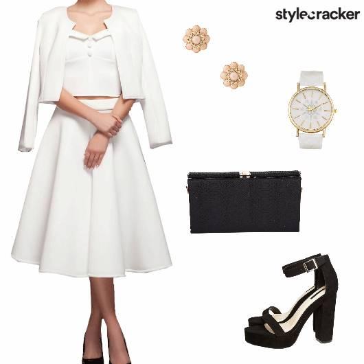 Skirtset Croptop Skirt Jacket Blockheels Clutch Work - StyleCracker
