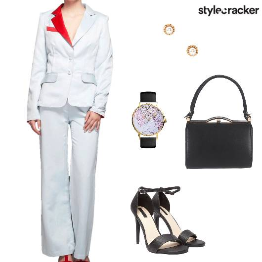 Monochrome Pantsuit Heels Laptopbag Watch Work - StyleCracker