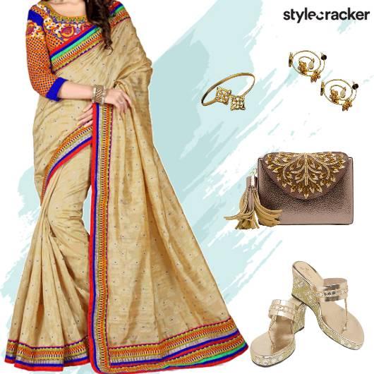 Festive Indian Wedding Saree - StyleCracker