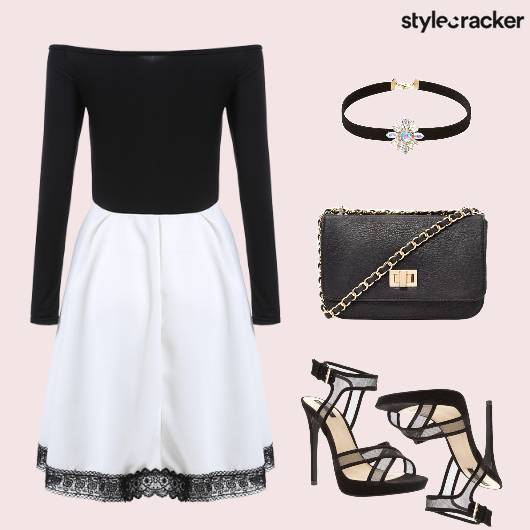 OffShoulderDress Lace Choker Party - StyleCracker
