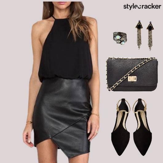 Asymmetrical Dress Flats SlingBag Dinner - StyleCracker