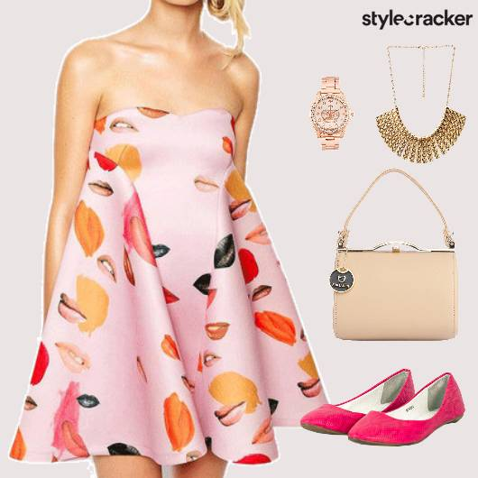 Flare Dress Ballet Flats StatementNecklace  - StyleCracker