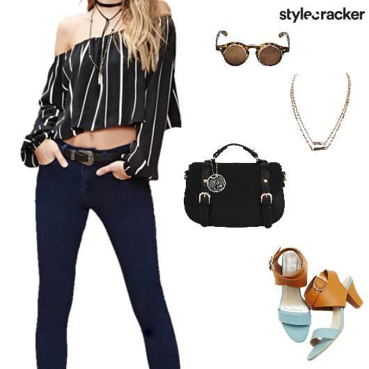 OffShoulder CropTop Denims ColourBlock Heels - StyleCracker