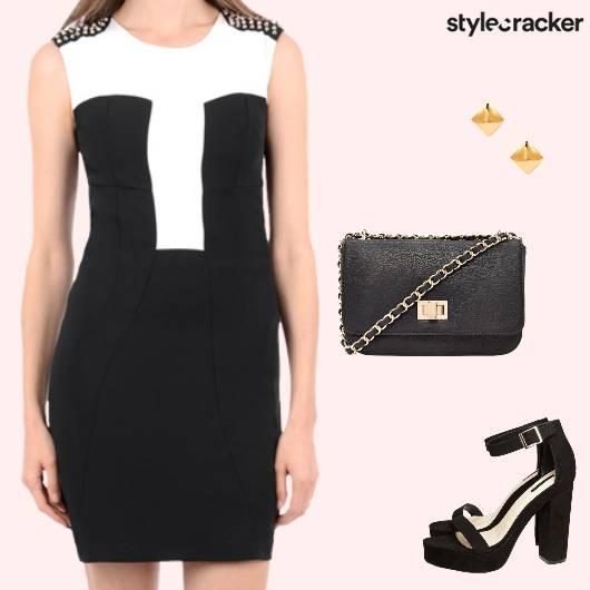 Weekend Party Nightout Monochrome Dress - StyleCracker
