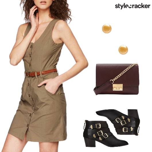 OliveGreen FrontButtonDress Casual SummerTrends  - StyleCracker
