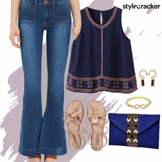 Chiffon Blouse Flats Clutch Accessories Movie - StyleCracker
