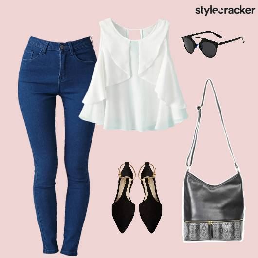 Top Ruffles Bag Flats Sunglasses  - StyleCracker