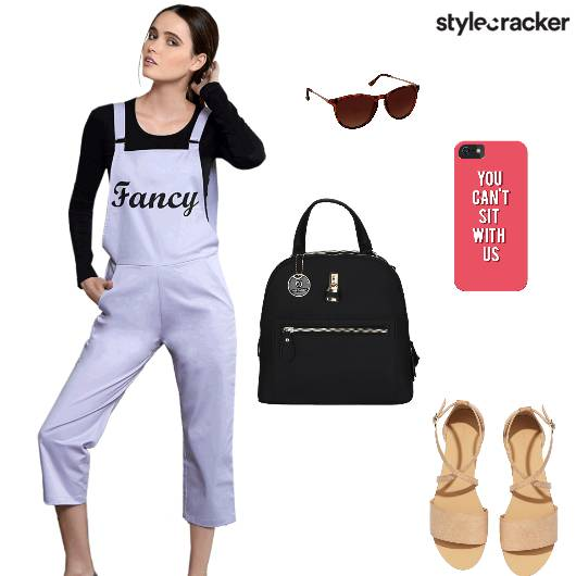 Jumpsuit Pants Flats Backpack Casual - StyleCracker