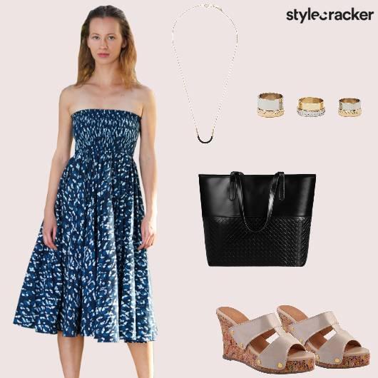 Dresaa Fitandflare Wedges Handbag Rings Brunch - StyleCracker