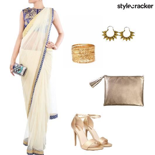 Saree Heels Clutch Earrings Bangles  - StyleCracker