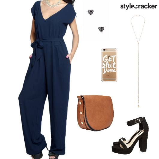 Jumpsuit Blockheels Slingbag Ynecklace Dinner - StyleCracker
