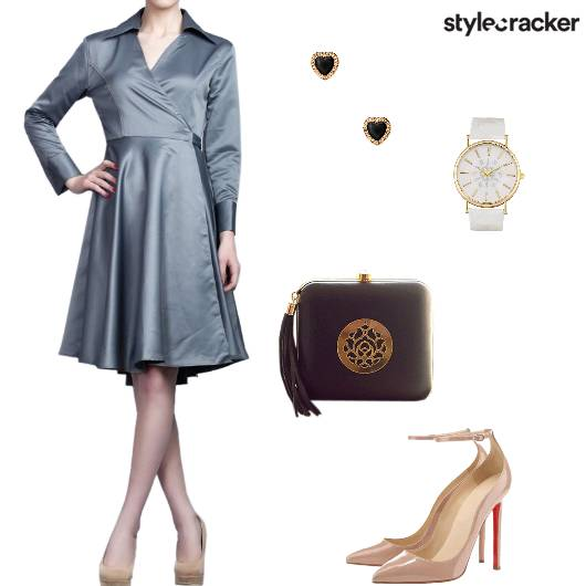 Dress Wrap Pumps Clutch Watch Studs Dinner - StyleCracker