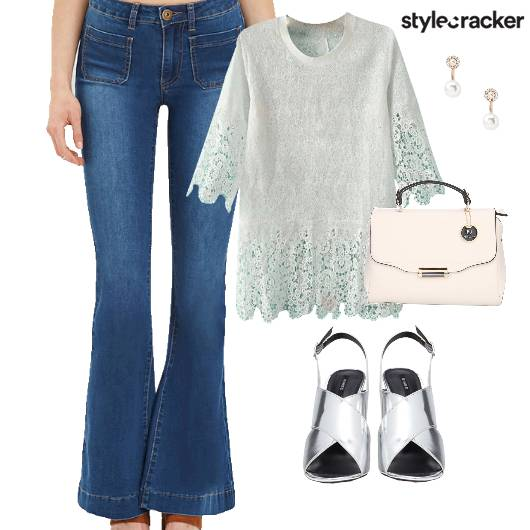 Crochet Top Denims Metallic Stilettos Lunch  - StyleCracker