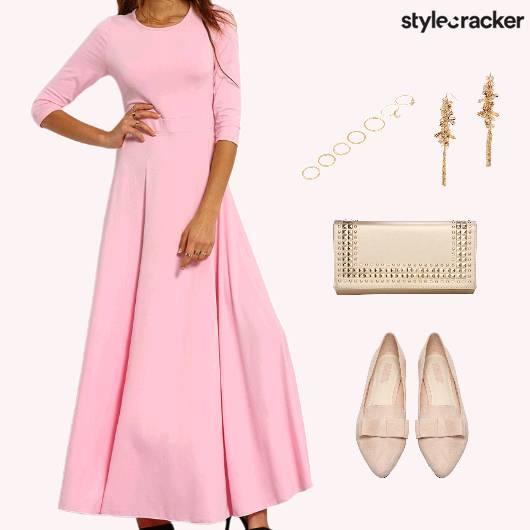 MaxiDress Clutch BalletFlats Lunch - StyleCracker