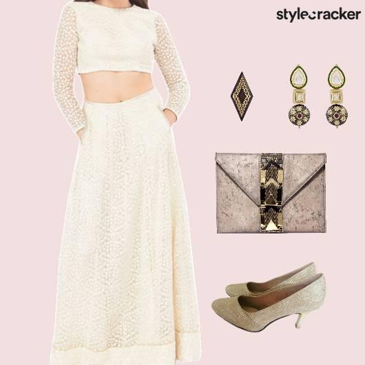 CropTop MaxiSkirt Clutch Wedding  - StyleCracker