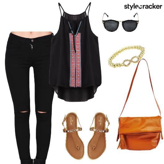 Top Jeans Slingbag Flats Casual - StyleCracker