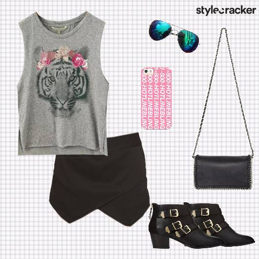 Muscletee Skirt boots Slingbag Casual Travel - StyleCracker