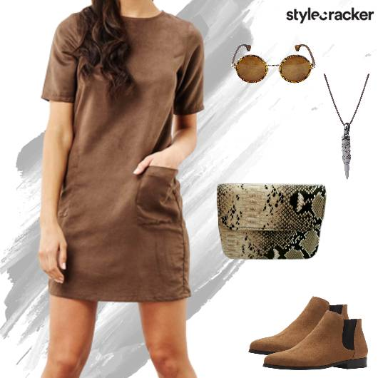 Casual Dayout Dress RoundFrame Sunglasses - StyleCracker