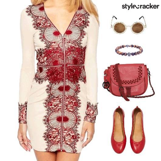 FullSleeves Dress SlingBag BalletFlat Exhibition - StyleCracker