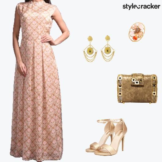 Festive Indian Maxi Dress Sangeet Reception - StyleCracker