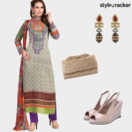 KurtaSet Wedges Indian Clutch  - StyleCracker