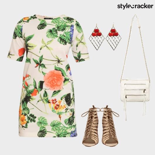 TropicalPrints Summer Dress LaceUps  - StyleCracker