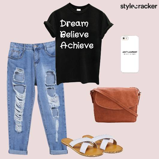 Tshirt Jeans Flats Casual Crossbodybag School - StyleCracker