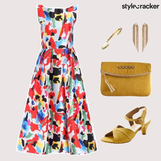 Abstract Print Dress Clutch Lunch - StyleCracker