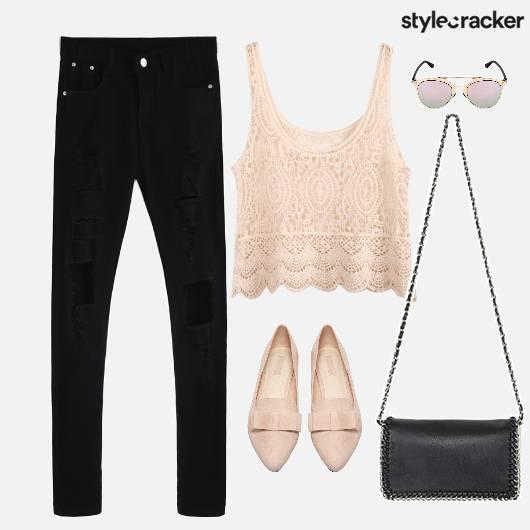 Crochet Top Ripped Denim Ballet Flats  - StyleCracker