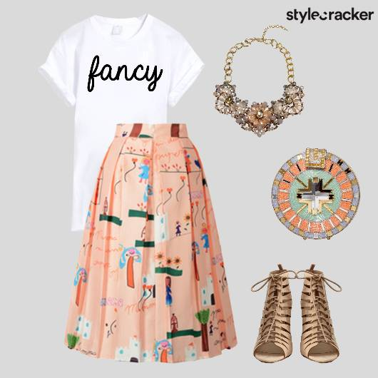 GraphicTee PleatedSkirt Prints LaceUp Summer  - StyleCracker
