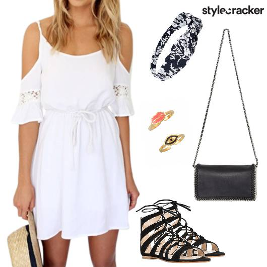 Dress Coldshoulder Laceup Flats Headband Slingbag Beach - StyleCracker