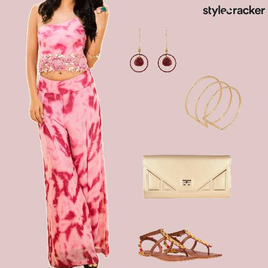 Set Croptop Pallazopants Flats Clutch Indian - StyleCracker