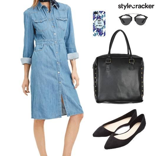 Denim Shirt Dress BalletFlats Lunch Comfort - StyleCracker