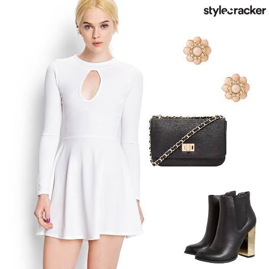 KeyHoleDress Boots SlingBag Summer Whites - StyleCracker
