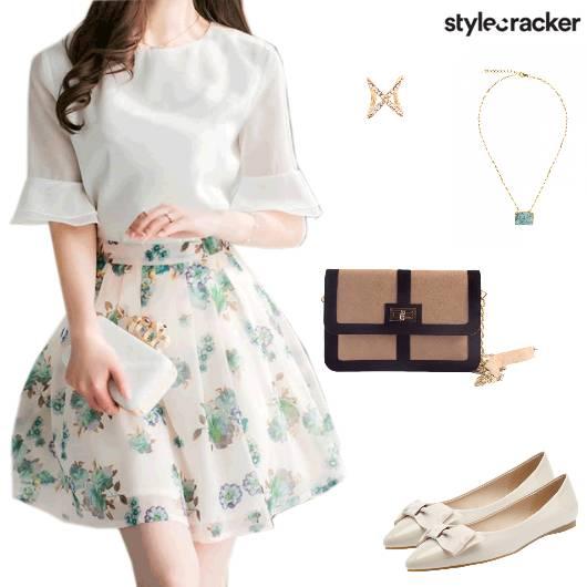 Printed Skirt Ballerinas Date  - StyleCracker